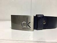 Синий кожаный ремень в стиле Calvin Klein