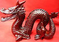 Дракон с рогом каменная крошка коричневый (19х15 см)