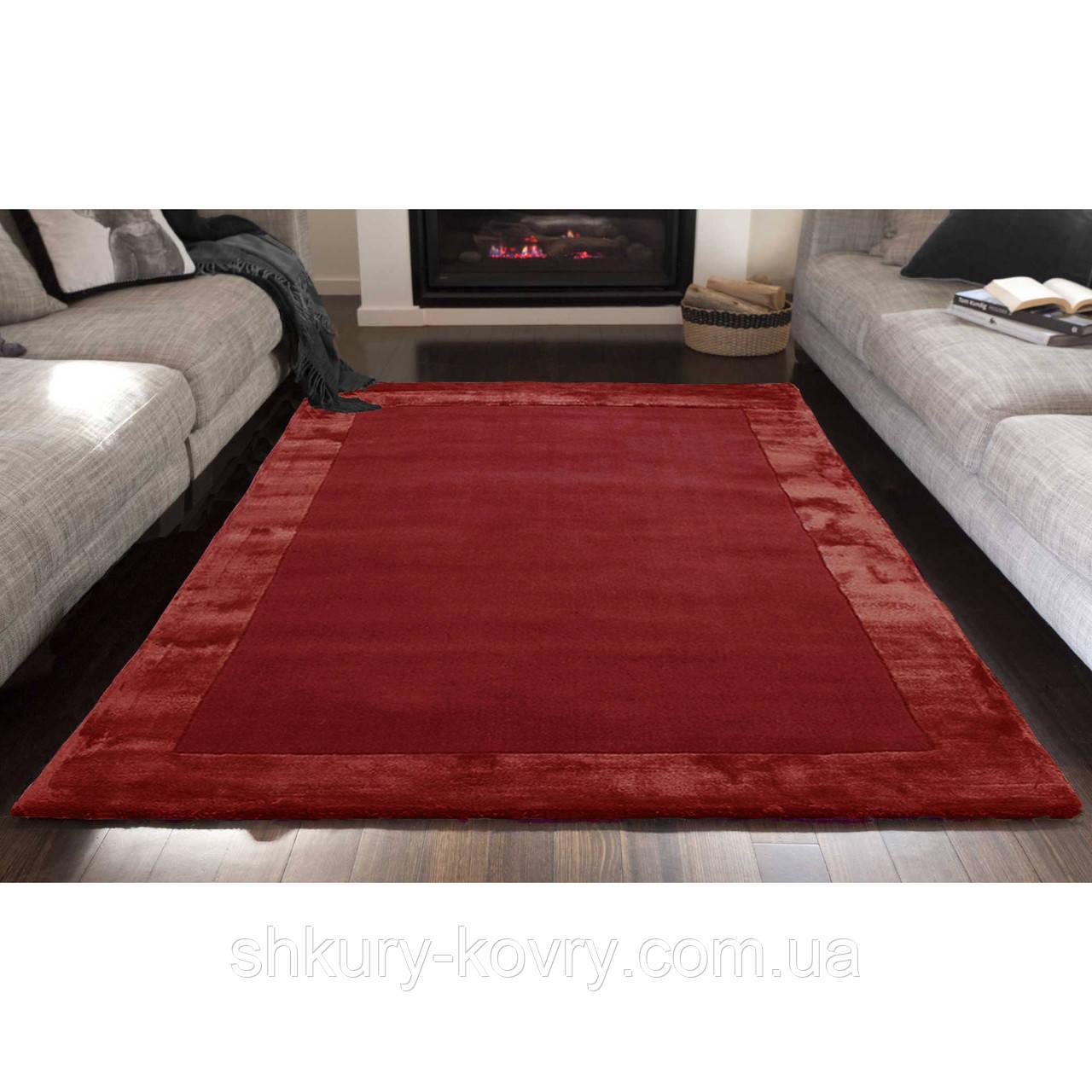 Комбіновані килими з вовни, віскози яскраво червоного кольору