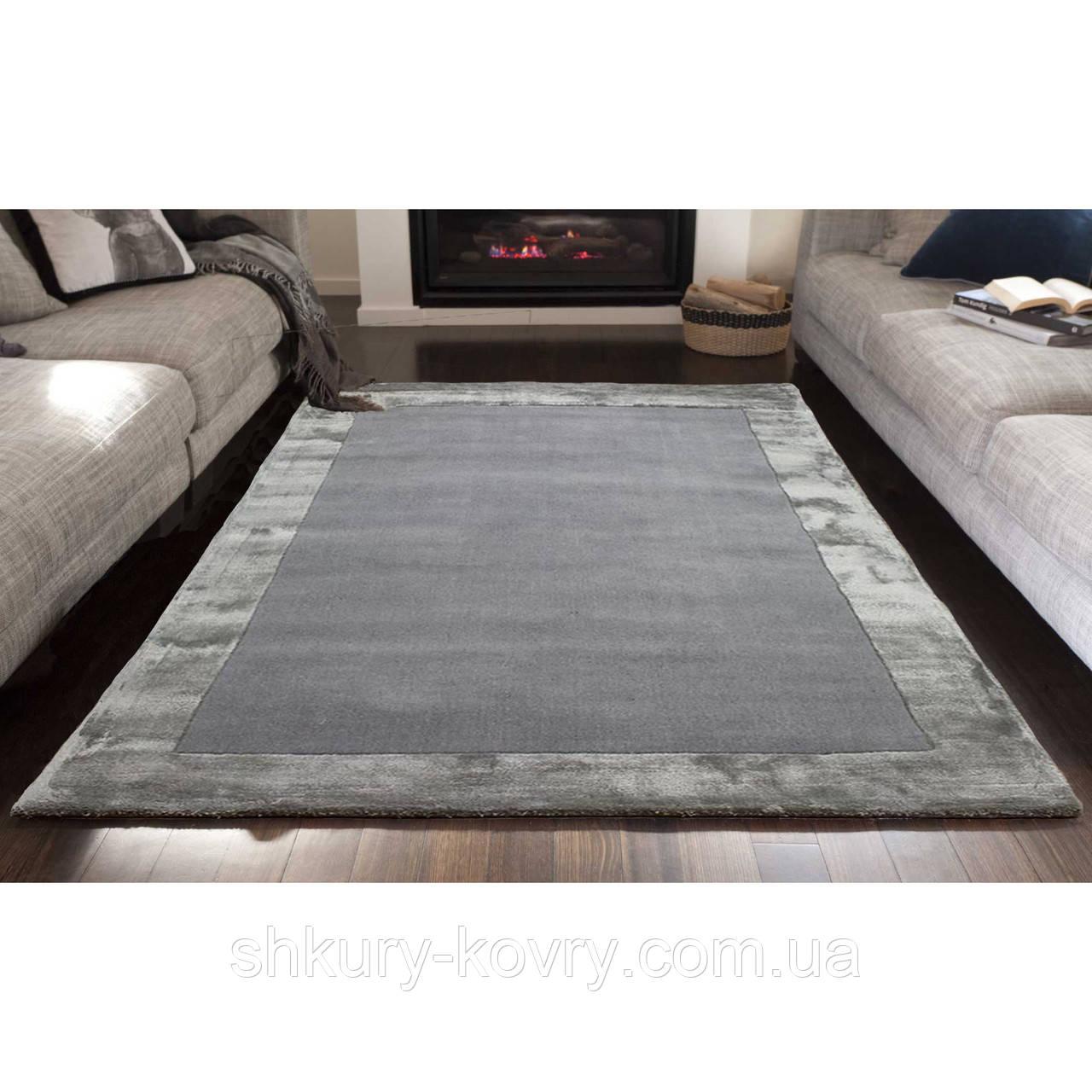 Комбинированые ковры из шерсти и вискозы серебряного цвета