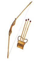 Лук деревянный, длина 85см, в компл. 3 стрелы, в пак. 100*15см, произ-во Украина(171872у)