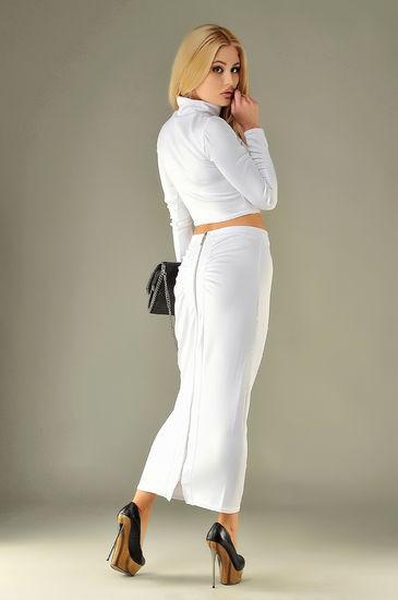 Костюм с длинной юбкой белый