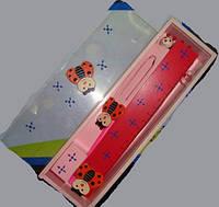 Деревян. пенал (96шт/6) линейка, точилка, ластик, карандаш, ручка, закладка 24*7*4см(2012-75)