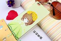 Оригинальный чехол панель накладка для Huawei P8 Lite с картинкой девочка в веночке из цветов
