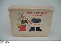 Шнуровка-одевалка мишка, деревянный,в деревянной коробке  20*16*4см (100шт)(2235-8)