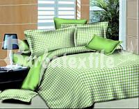 Полуторный комплект постельного белья Клетка салатовая