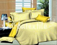 Полуторный комплект постельного белья Клетка желтая