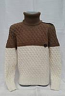Красивый свитер для мальчиков Udi Kids с отворотом коричневым