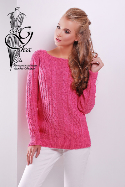 Розовый цвет Женского свитера из шерсти и акрила Адель-10