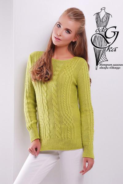 Цвет Олива Женского свитера из шерсти и акрила Адель-10