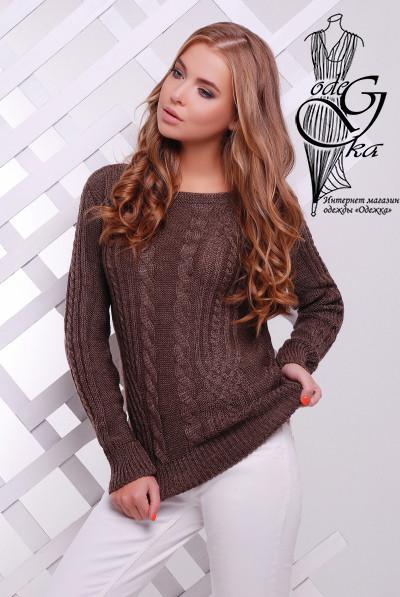 Цвет шоколад Женского свитера из шерсти и акрила Адель-10