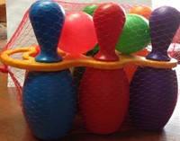 Кегли малыши с ручкой 6 шт.,  + 2 шара, в сетке 18*18см, ТМ BAMSIC, произ-во Украина (15 шт/уп)(024/3)