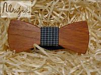 Деревянная бабочка Классик бирюзовая гусья лапка
