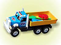 """Машина """"Фарго"""" грузовик, лопат., граб.,пасоч., в сетке 46*20*16см,ТМ BAMSIC, пр-во Украина (3 шт/уп)(009/1)"""