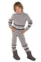 """Теплый шерстяной костюм """"Олени"""", для мальчика, цвет светло - серый"""