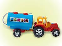 Трактор с бочкой в сетке 50*20см, ТМ BAMSIC, произ-во Украина (4 шт/уп)(007/3)