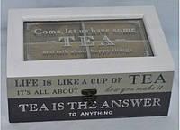 Коробка для чая под стеклом белая 69-5