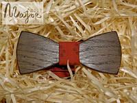 Деревянная бабочка Классик красная с узором
