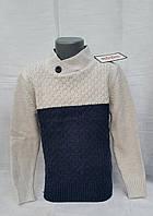 Вязаный свитер для мальчиков 5-6,9-10,11-12 лет Udi Kids с пуговицой-беж