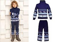 """Теплый шерстяной костюм """"Олени"""", для мальчика, цвет синий"""