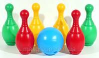 Боулинг дет., пластмас. (6 кеглей, 1 шар ), в сетке 27*21см, произ-во Украина (6шт)(МГ-070)