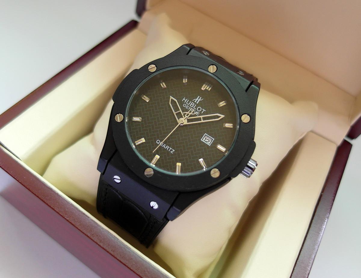 a0b507b1499c Мужские часы HUBLOT - GENEVE Black, кожаный с каучуком ремешок, цвет  полностью черный