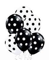 Гелиевые воздушные шары Белые в  горох. гелиевые шары в горох. гелиевые шары в Киеве с доставкой.