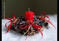 Новогодняя, рождественская мини композиция со свечой.