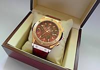 Яркие часы HUBLOT - GENEVE Bardo, кожаный с каучуком ремешок, цвет бардовый