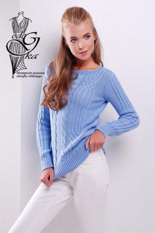 Голубой цвет Женского свитера из шерсти и акрила Адель-10