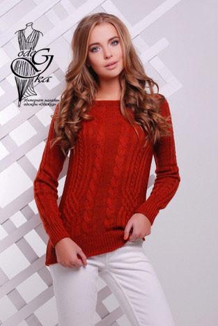 Цвет терракота Женского свитера из шерсти и акрила Адель-10