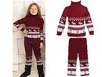 """Теплый шерстяной костюм """"Олени"""" (свитер + брючки), для девочки, цвет бордо,"""