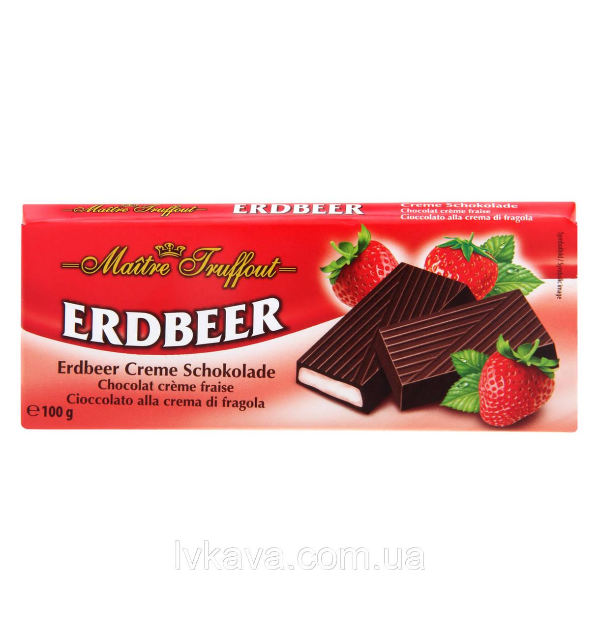 Черный шоколад Erdbeer  Maitre Truffout  , 100 гр