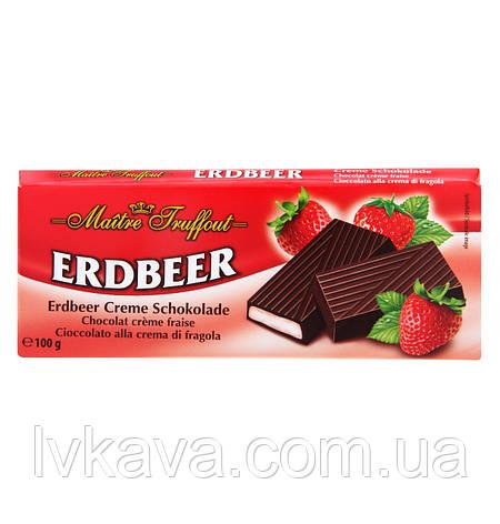 Черный шоколад Erdbeer  Maitre Truffout  , 100 гр, фото 2