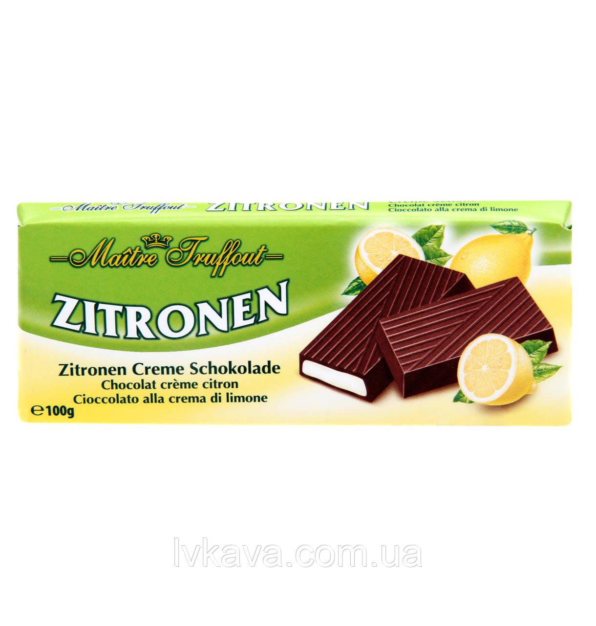 Черный шоколад Zitrone  Maitre Truffout  , 100 гр