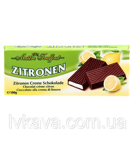 Черный шоколад Zitrone  Maitre Truffout  , 100 гр, фото 2