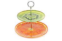Фруктовница стеклянная Киви-Апельсин