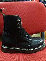 Ботинки STELL 113/0/AL 8 дыр. чёрные (кожа, прозрачная подошва, черевики, шкіра)