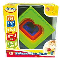 Кубики-пирамидка, 9М+, укр.уп., в кор. 15*16*10см, ТМ BeBe lino(57028)