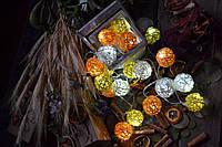 """Новорічна гірлянда на батарейках з плетених кульок """"Чарівність осені"""", фото 1"""