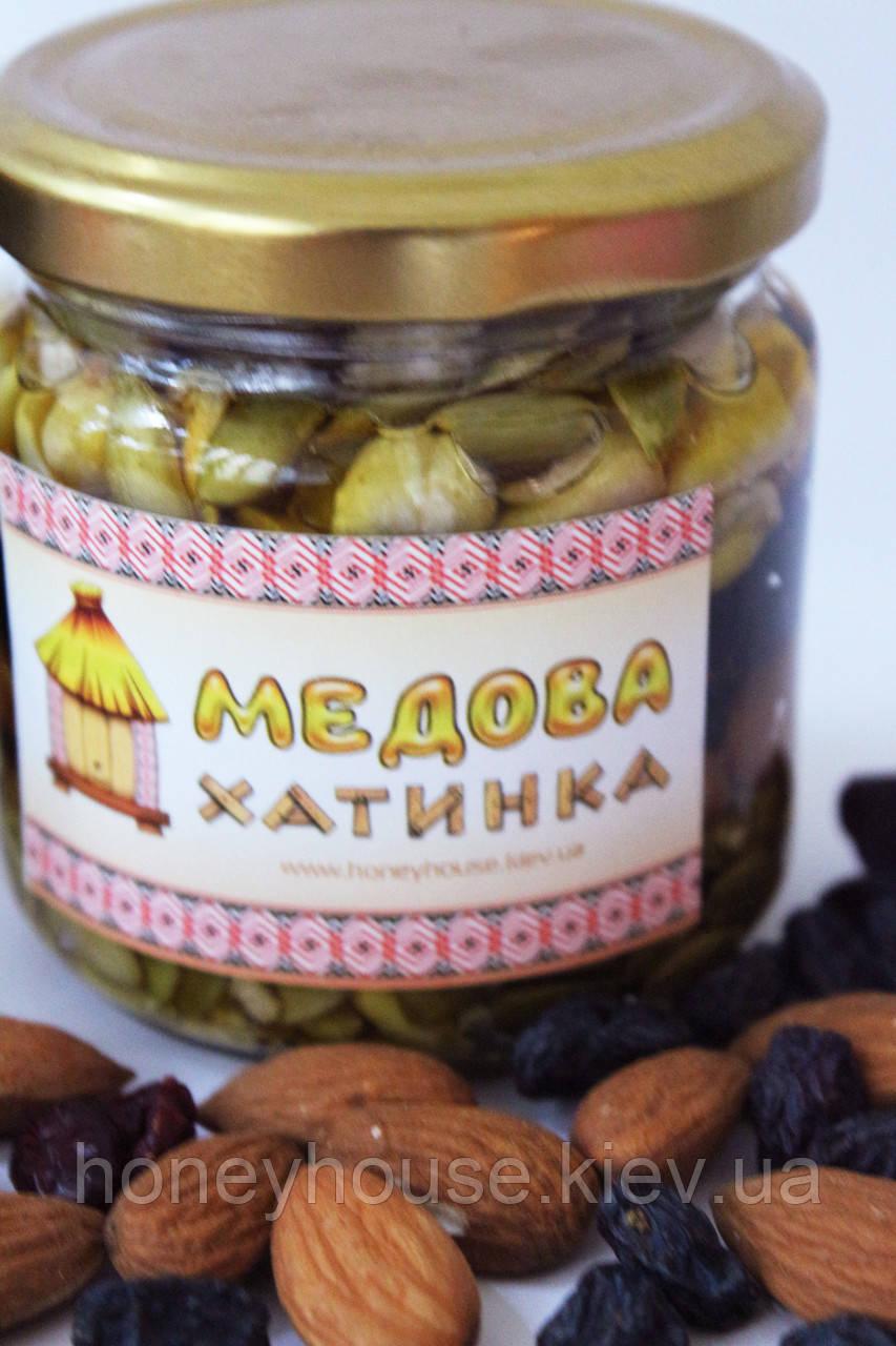"""Суміш з горіхів, сухофруктів та насіння, залита медом №1 ТМ """"Медова Хатинка"""""""