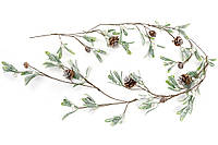 Гирлянда из листьев в инее с шишками 125 см.