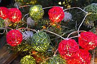 """Новогодняя гирлянда из плетенных шариков на батарейках """"Рождество"""""""