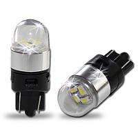 Светодиодная белая (White) автолампа T10 4 3014SMD(90Lm) with metal ring and clear cover (Precision)