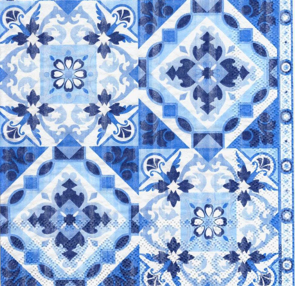 Серветка декупажна Синьо-блакитний орнамнт 6436