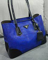 Сумка Prada Прада качественная эко-кожа синяя с черным