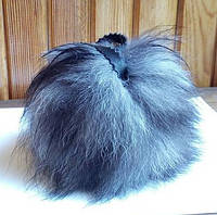 Бубон (помпон) серый из хвоста чернобурки, диаметр 7-13 см