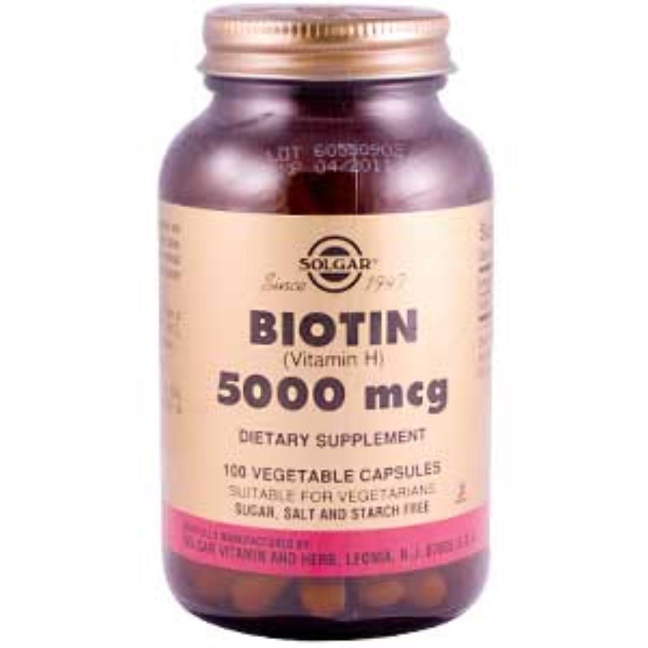 Биотин для волос Solgar, 5000 мкг, 100 капсул. Сделано в США.