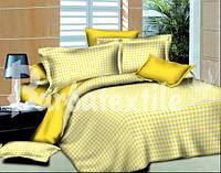 Евро комплект постельного белья Клетка желтая