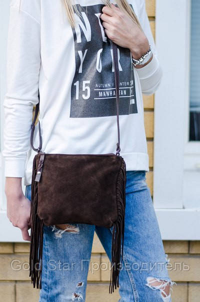 d3b4751f0a71 Замшевая сумка бахрома цвет шоколад: продажа, цена в Ивано ...